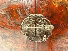 Carved Red Asian Armoire - 462162