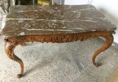 Carved Wood Center Table With Marble Top France Eighteenth Century - 1225165