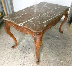 Carved Wood Center Table With Marble Top France Eighteenth Century - 1225167