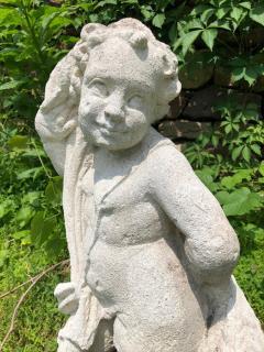 Cast Stone Garden Figure Of Cherub - 1040319