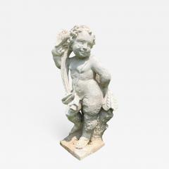 Cast Stone Garden Figure Of Cherub - 1040374
