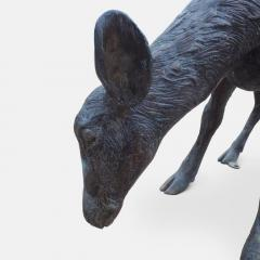 Cast bronze sculpture of a grazing Fawn - 1308311