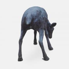 Cast bronze sculpture of a grazing Fawn - 1308316