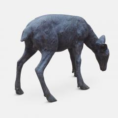 Cast bronze sculpture of a grazing Fawn - 1308321