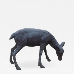 Cast bronze sculpture of a grazing Fawn - 1308793