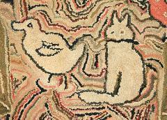 Cat Duck and Bird Hooked Rug - 134086