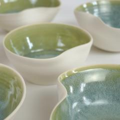Catherine Bonte Navarrot SET OF 9 GLAZED PORCELAIN CUPS - 2100049