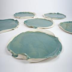 Catherine Bonte Navarrot SET OF 9 GLAZED PORCELAIN PLATES - 2100055