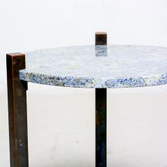 Cedric Hartman Petite Side Table Luscious Blue Granite Bronze 1970s Modern Cedric Hartman - 1773317