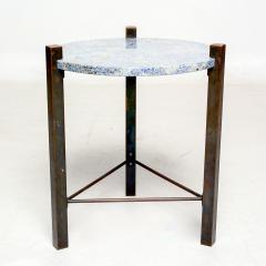 Cedric Hartman Petite Side Table Luscious Blue Granite Bronze 1970s Modern Cedric Hartman - 1773318