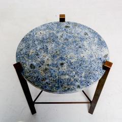 Cedric Hartman Petite Side Table Luscious Blue Granite Bronze 1970s Modern Cedric Hartman - 1773319