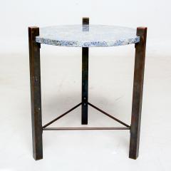Cedric Hartman Petite Side Table Luscious Blue Granite Bronze 1970s Modern Cedric Hartman - 1773322