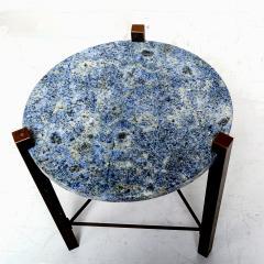 Cedric Hartman Petite Side Table Luscious Blue Granite Bronze 1970s Modern Cedric Hartman - 1773323