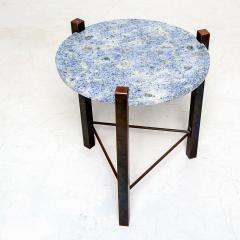 Cedric Hartman Petite Side Table Luscious Blue Granite Bronze 1970s Modern Cedric Hartman - 1773325
