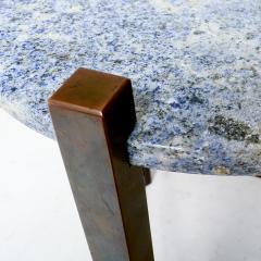 Cedric Hartman Petite Side Table Luscious Blue Granite Bronze 1970s Modern Cedric Hartman - 1773326