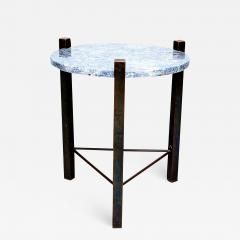 Cedric Hartman Petite Side Table Luscious Blue Granite Bronze 1970s Modern Cedric Hartman - 1773922