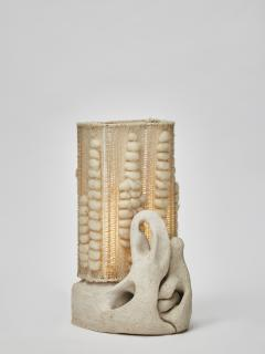 Ceramic Table Lamp with Hand Weaved Wool Shade - 1676368