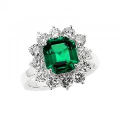 Certified 2 Carat No Oil Colombian Emerald and Diamond Cluster Platinum Ring - 1736021