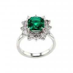 Certified 2 Carat No Oil Colombian Emerald and Diamond Cluster Platinum Ring - 1736191