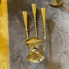 Cesare Lacca 1950s Cesare Lacca Set of two Mid Century Modern Brass Wall Sconces - 2072518
