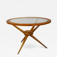 Cesare Lacca Cesare Lacca in the style of Round Low Table in Wood and Glass - 1832937