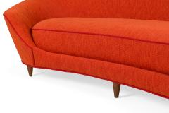 Cesare Lacca Curved Sofa Reupholstered in Orange Fabric - 1206635