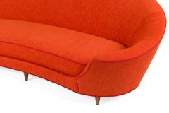 Cesare Lacca Curved Sofa Reupholstered in Orange Fabric - 1206636