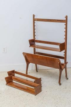 Cesare Lacca Italian Modern Walnut Rolling Adjustable Book Shelf Cesare Lacca - 364251