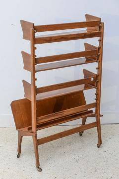 Cesare Lacca Italian Modern Walnut Rolling Adjustable Book Shelf Cesare Lacca - 364252