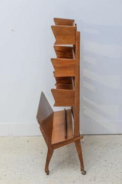 Cesare Lacca Italian Modern Walnut Rolling Adjustable Book Shelf Cesare Lacca - 364253