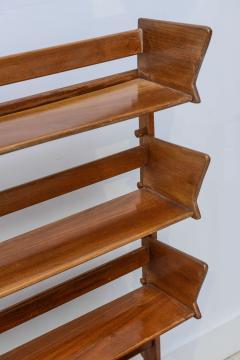Cesare Lacca Italian Modern Walnut Rolling Adjustable Book Shelf Cesare Lacca - 364255