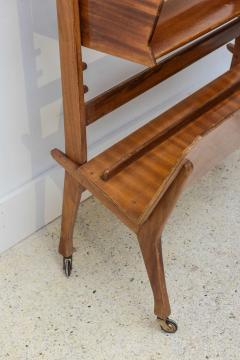 Cesare Lacca Italian Modern Walnut Rolling Adjustable Book Shelf Cesare Lacca - 364256