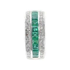 Channel Invisible Set Square Emeralds with Round Diamonds Band Ring - 1795440