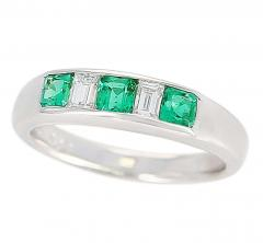 Channel Set Invisible Emerald and Diamond Platinum Bridal Ring - 1795383