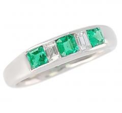 Channel Set Invisible Emerald and Diamond Platinum Bridal Ring - 1795388