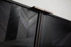 Charles Burnand Bass Credenza Sideboard with Straw Marquetry Inlay and Patinated Brass Plinth - 1455695