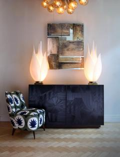 Charles Burnand Bass Credenza Sideboard with Straw Marquetry Inlay and Patinated Brass Plinth - 1455700
