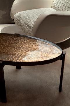 Charles Burnand Battuto Coffee Table Cast Silver Leaf Murano Glass and Patinated Bronze - 1502378