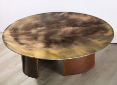 Charles Burnand Brutalist Inspired Coffee Table with Hand Silvered Glass Top and Metal Base - 1313428