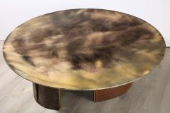 Charles Burnand Brutalist Inspired Coffee Table with Hand Silvered Glass Top and Metal Base - 1313429