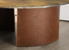 Charles Burnand Brutalist Inspired Coffee Table with Hand Silvered Glass Top and Metal Base - 1313431