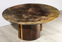 Charles Burnand Brutalist Inspired Coffee Table with Hand Silvered Glass Top and Metal Base - 1313433