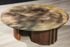 Charles Burnand Brutalist Inspired Coffee Table with Hand Silvered Glass Top and Metal Base - 1313434