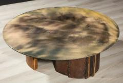 Charles Burnand Brutalist Inspired Coffee Table with Hand Silvered Glass Top and Metal Base - 1313435