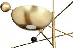 Charles Burnand Contrapesi Midcentury Style Brass and Powder Coated Cup Pendant - 1465334
