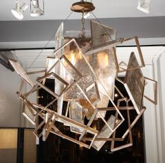 Charles Burnand Monumental Geometric Glass Paneled chandelier by Charles Burnand Nick Davis - 1325854