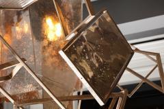 Charles Burnand Monumental Geometric Glass Paneled chandelier by Charles Burnand Nick Davis - 1325856