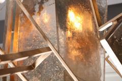 Charles Burnand Monumental Geometric Glass Paneled chandelier by Charles Burnand Nick Davis - 1325858