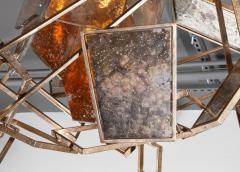 Charles Burnand Monumental Geometric Glass Paneled chandelier by Charles Burnand Nick Davis - 1325861