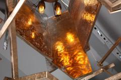 Charles Burnand Monumental Geometric Glass Paneled chandelier by Charles Burnand Nick Davis - 1325863
